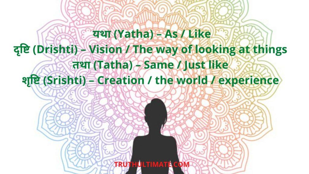 Yatha Drishti Tatha Srishti Meaning